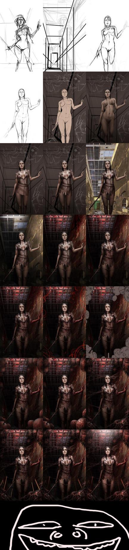 Silent Hill Fanart Process by tekkoontan