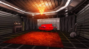 Room with Red Couch Concept Art by tekkoontan