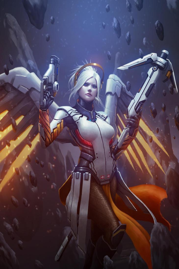 Overwatch Mercy Fanart by tekkoontan
