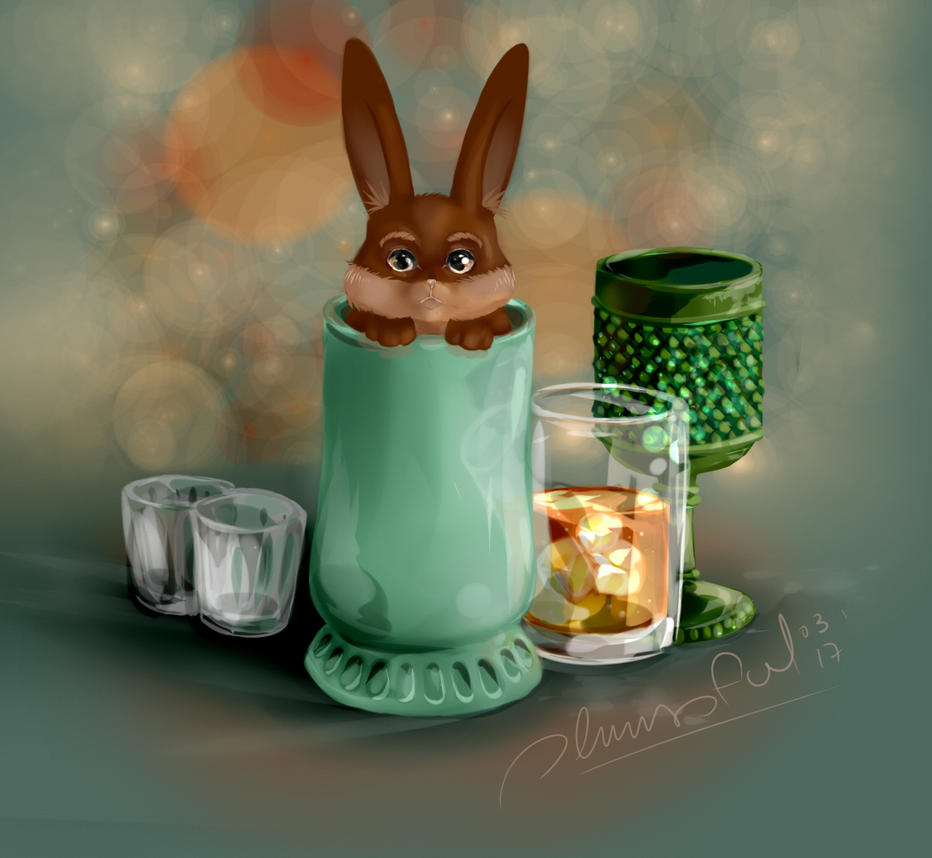 Bunny in a cup by Plumisful