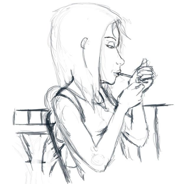 Shay smoking sketch preview