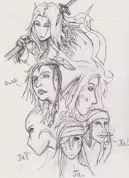 Early character head designs by Mekari