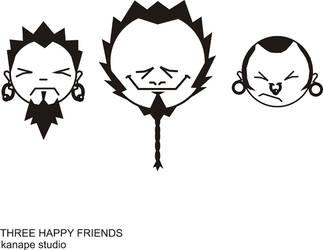 three happy friends