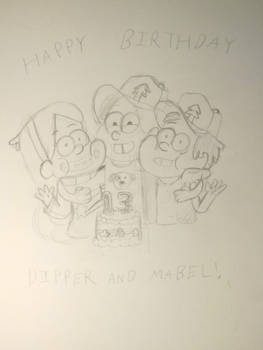 Dipper And Mabel's Birthday (Rough Sketch)