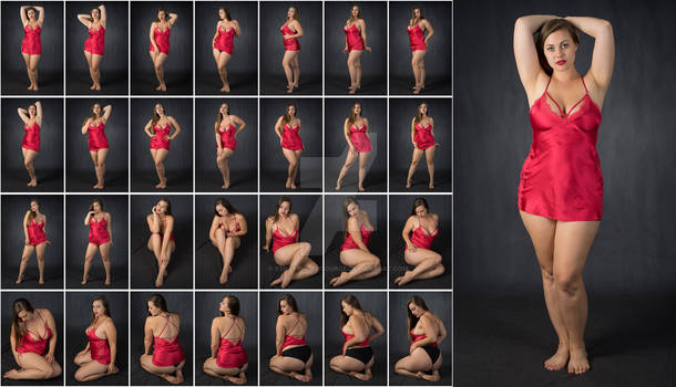 Stock: Lillias Red Gown Poses - 28 Images