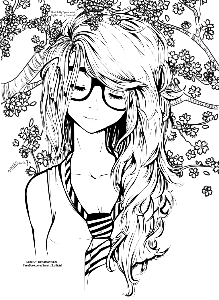 hard girl coloring pages - cute girl by samir z3 on deviantart