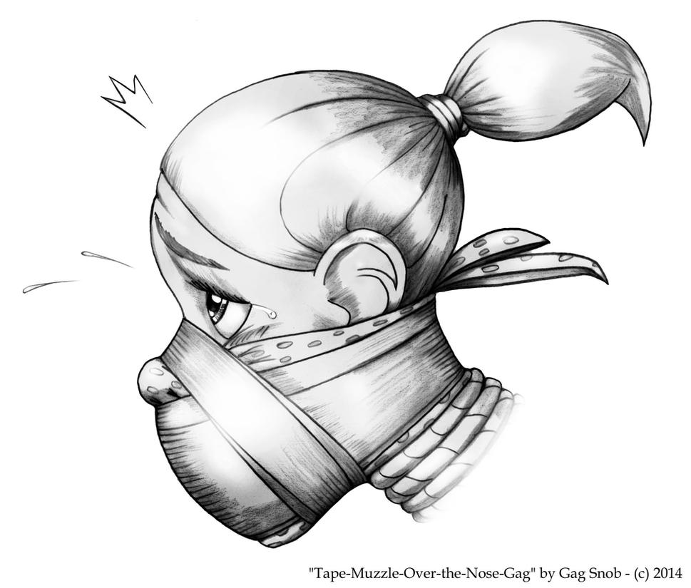 Tape Muzzle Over the Nose Gag by GagSnob