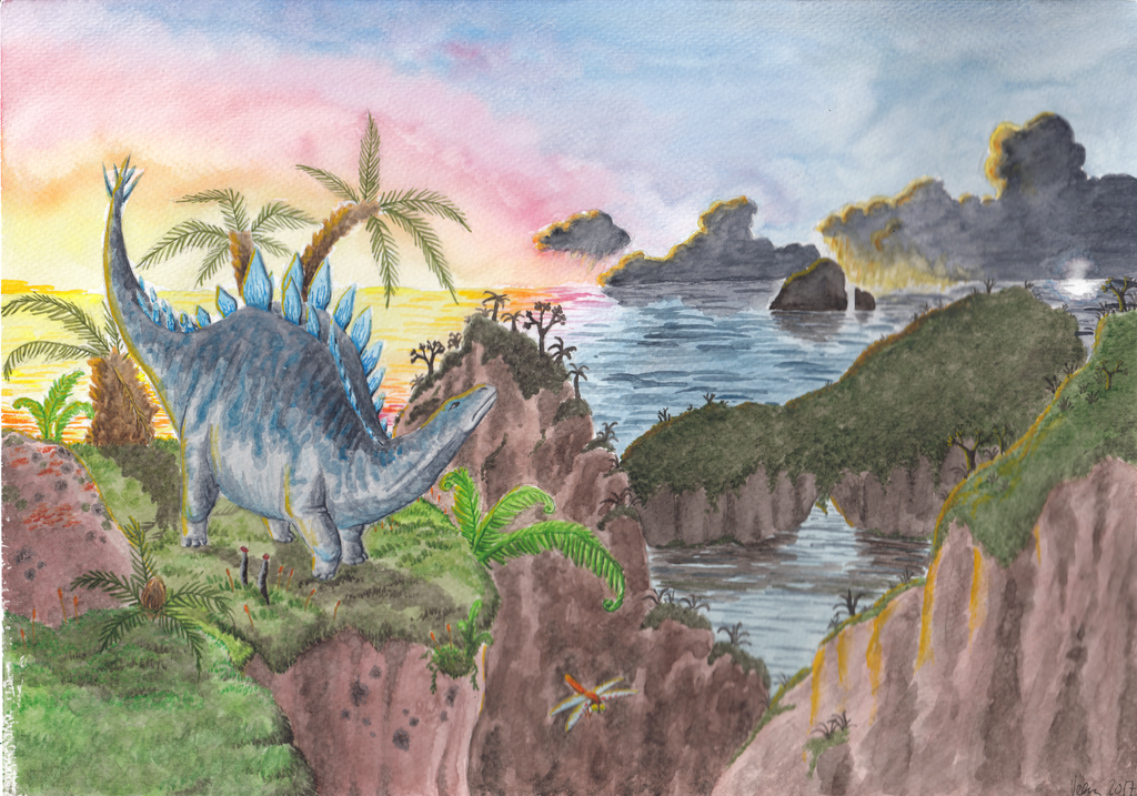Storm and sunset in the late Jurassic by VeeraP
