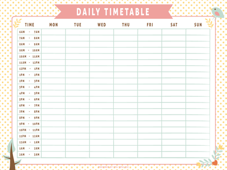 Daily Timetable (Whimsical)