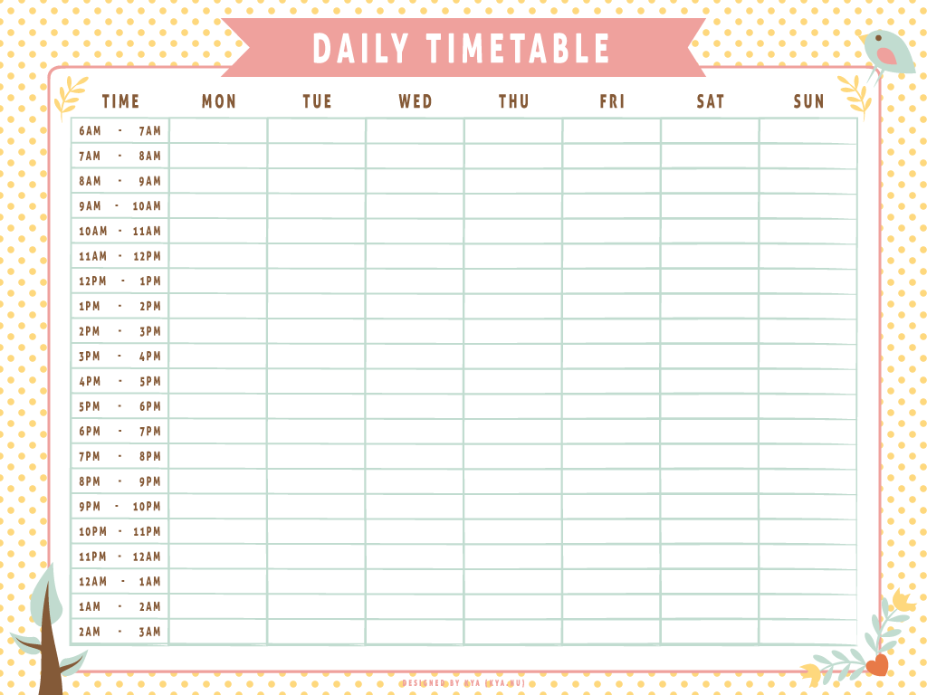 Daily Timetable (Whimsical) by apparate on DeviantArt