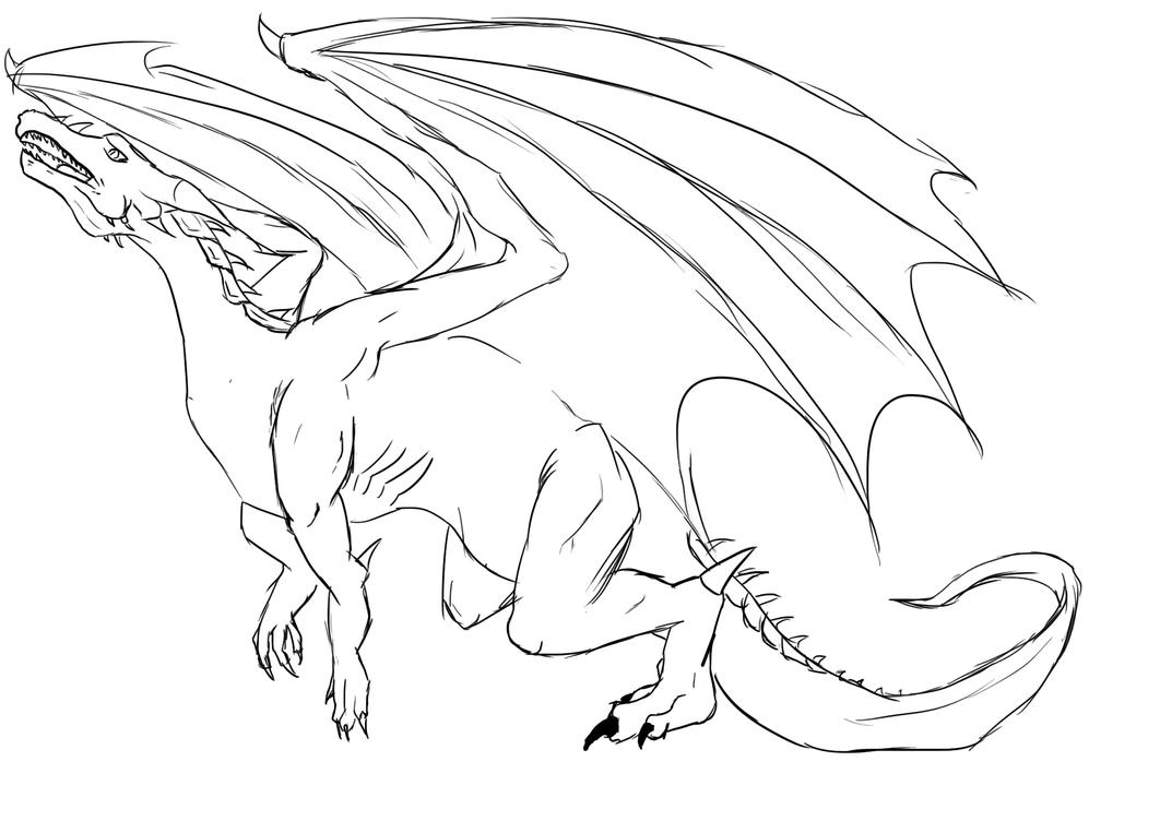 Dragon Lineart : Dragon lineart by rekiryu on deviantart