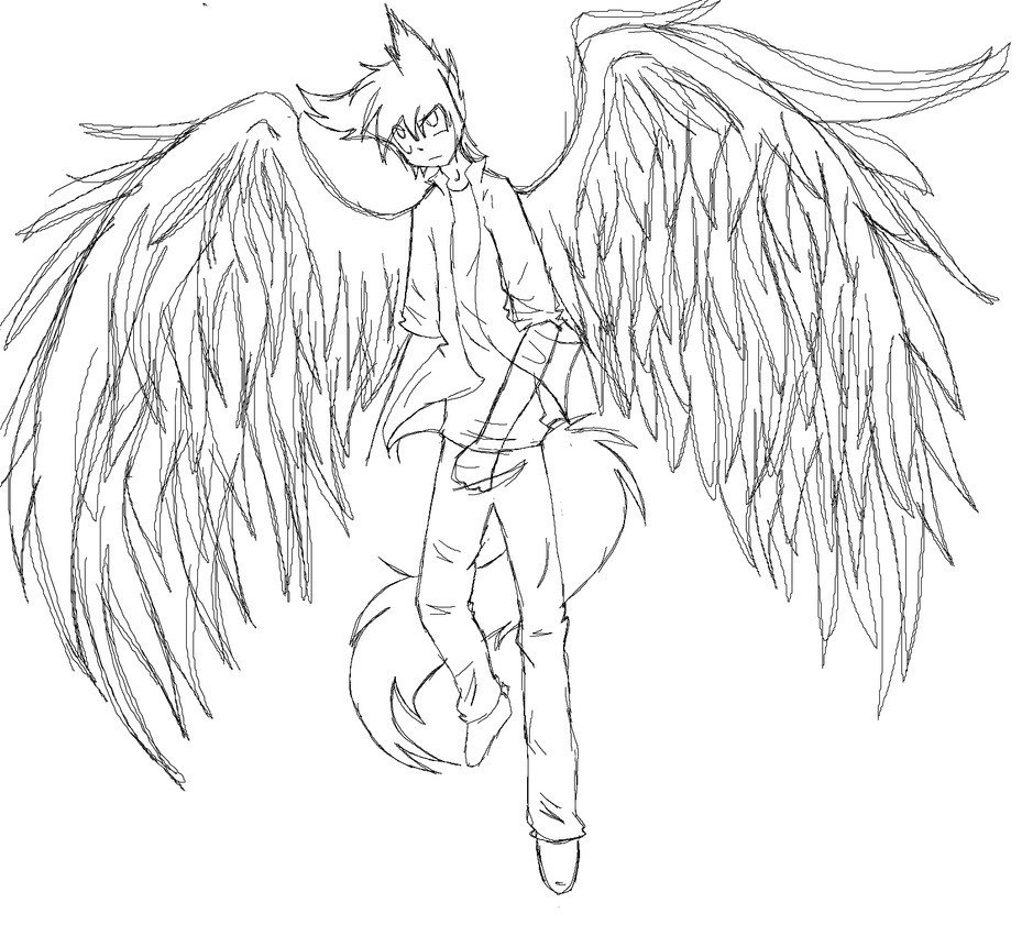 Anime Girl With Wings Drawing   Www.pixshark.com - Images Galleries With A Bite!