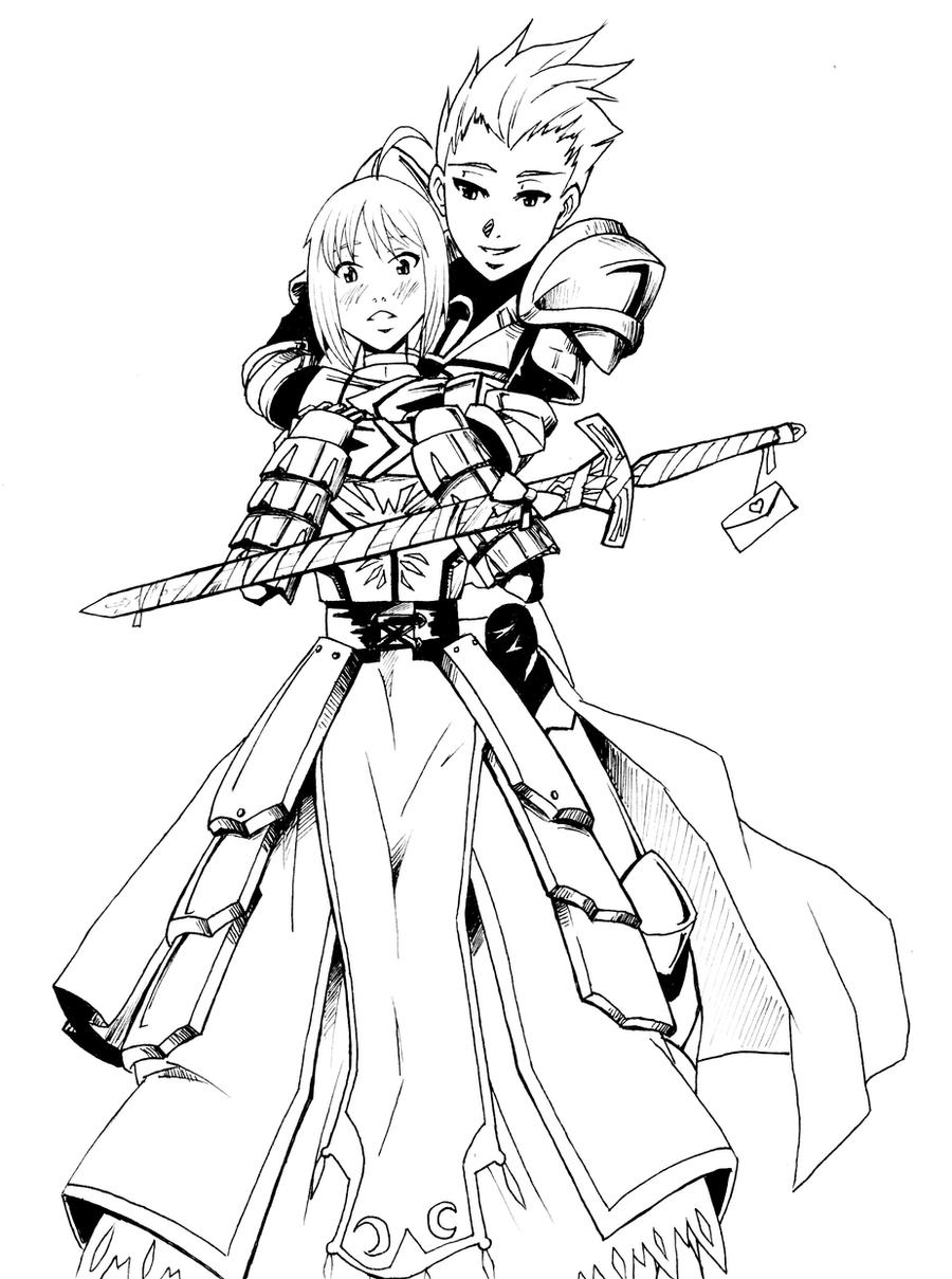 Fate Stay Night: Gilgamesh+Saber by KukuruyoArt