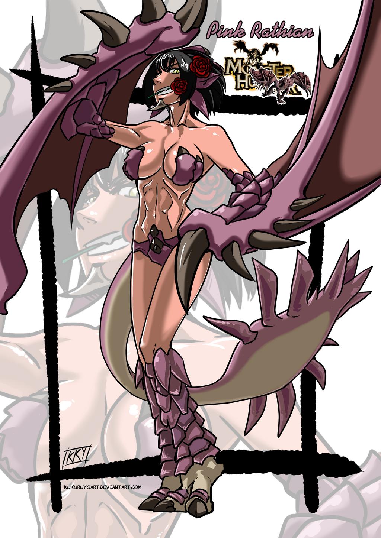 Versiones femeninas de Monstruos - Página 4 Pink_rathian_monster_girl_by_kukuruyoart-d816pen