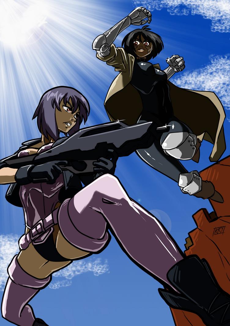 Motoko kusanagi vs Alita by KukuruyoArt