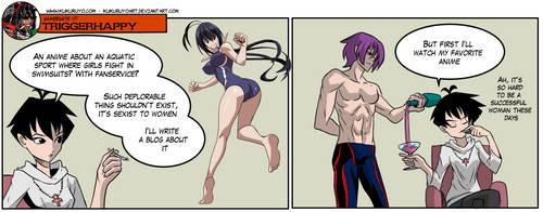 Gamergate Triggerhappy - Anime double standard by KukuruyoArt
