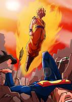 Goku vs DC poster by KukuruyoArt