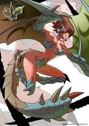 Azure Rathalos monster girl by KukuruyoArt