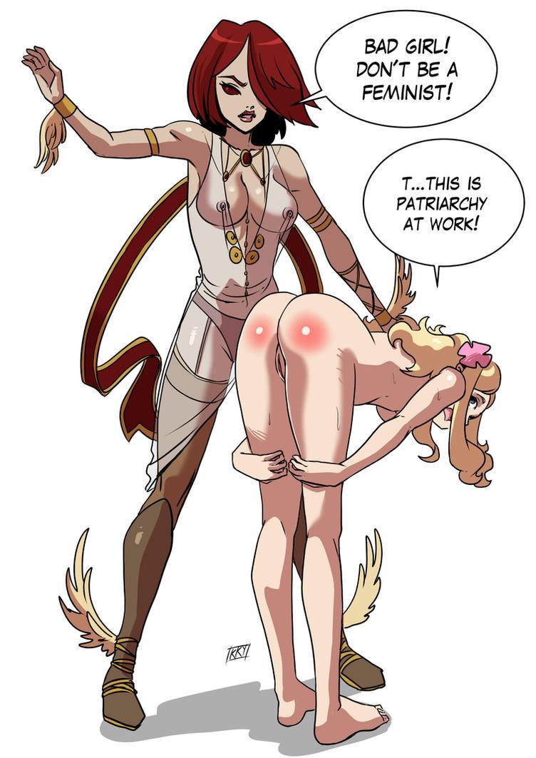 Commission: Spanking goddess by KukuruyoArt