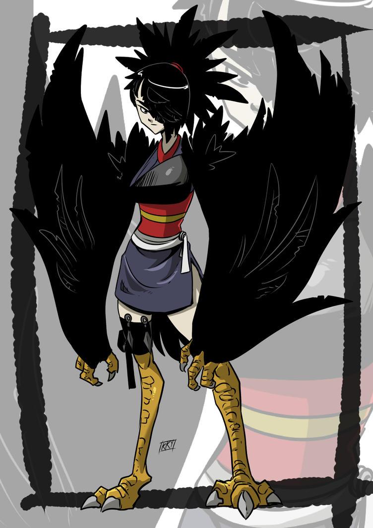 Crow monster girl by KukuruyoArt