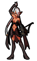 Dark elf monster girl by KukuruyoArt