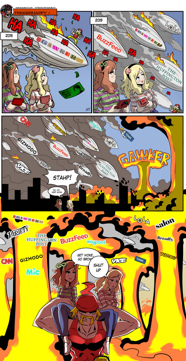 Triggerhappy: Woke media (hopefully) final panel by KukuruyoArt