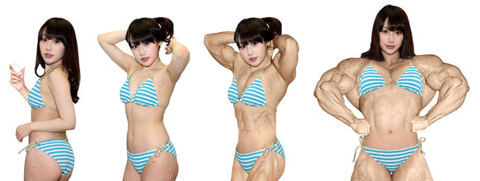 Gravure idol to female bodybuilder