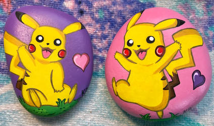 Painted Rocks - Pikachu by starfiregal92