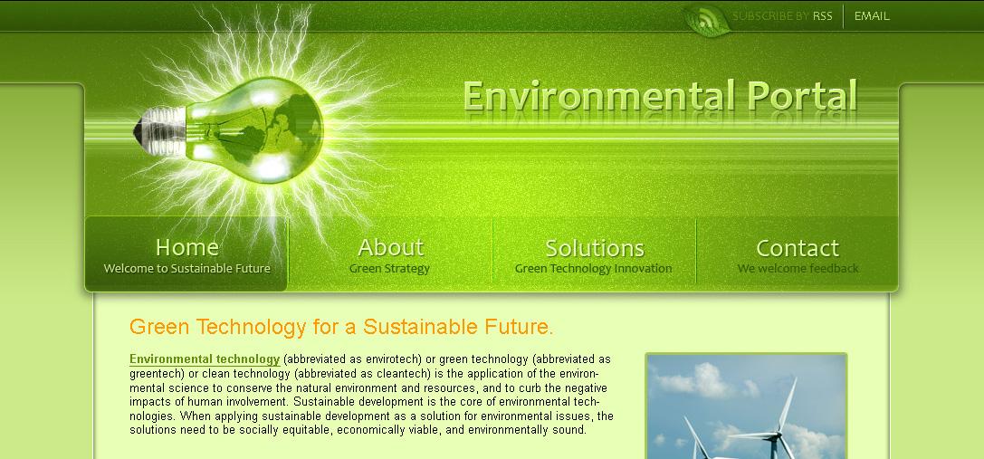 Shiny Green Website Header
