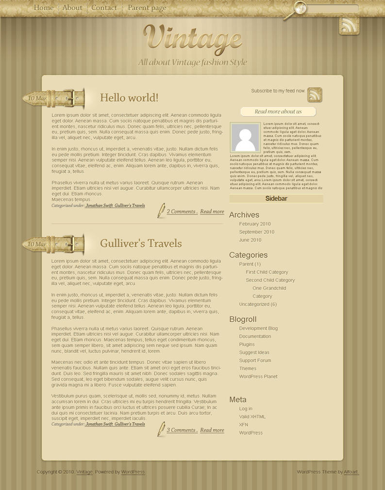 Vintage Wordpress theme. by AlexandraF