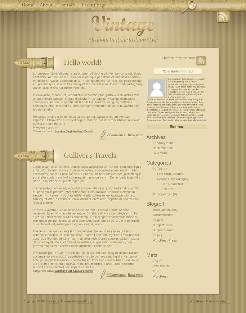 vintage wordpress theme by alexandraf