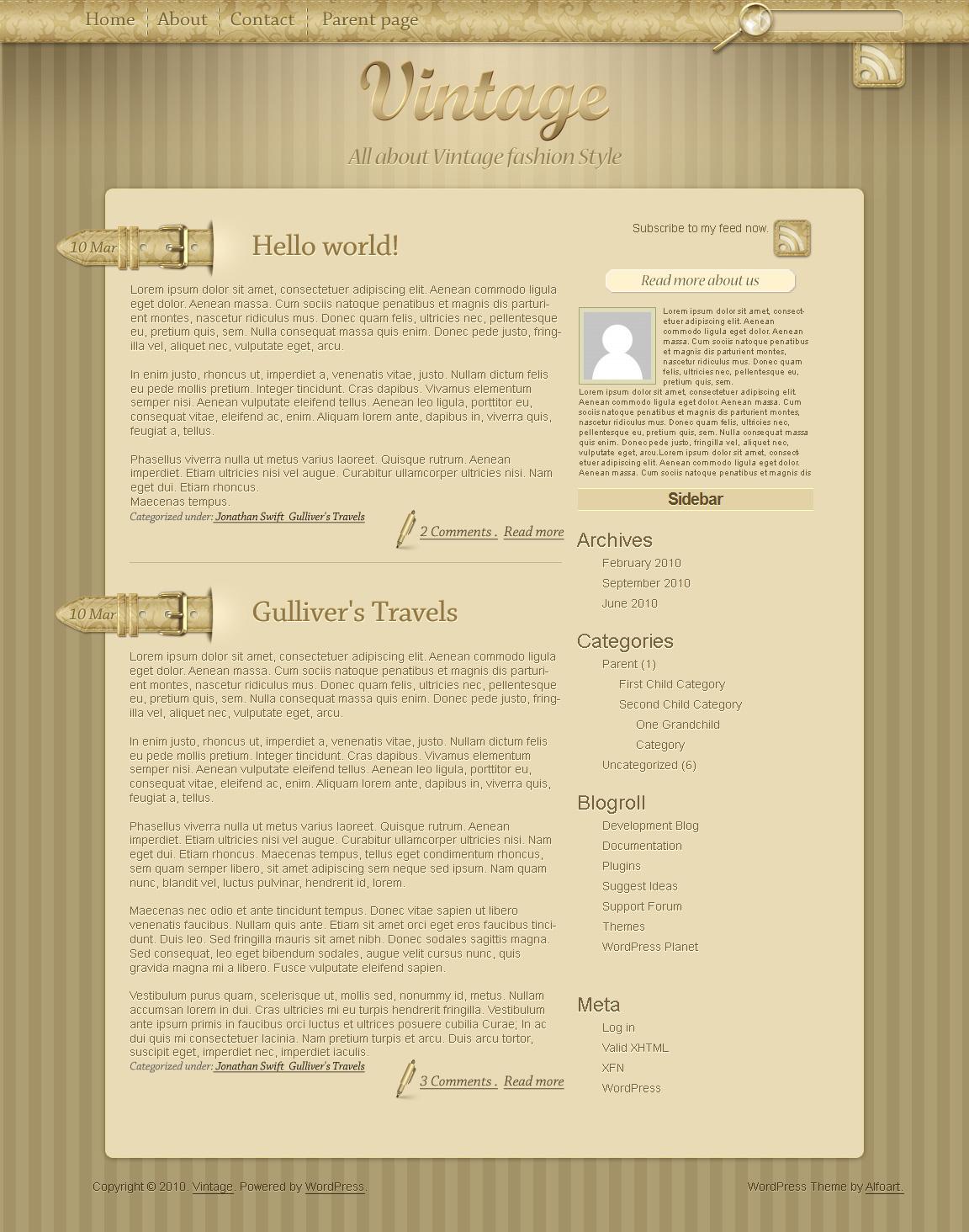 Vintage Wordpress theme. by AlexandraF
