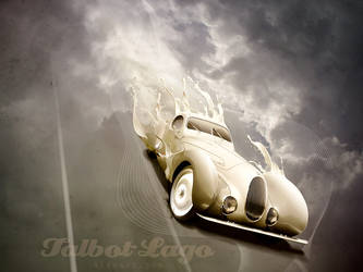 Retro car poster. Talbot-Lago.