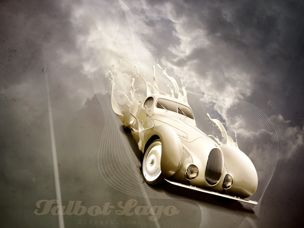 Retro car poster. Talbot-Lago. by AlexandraF