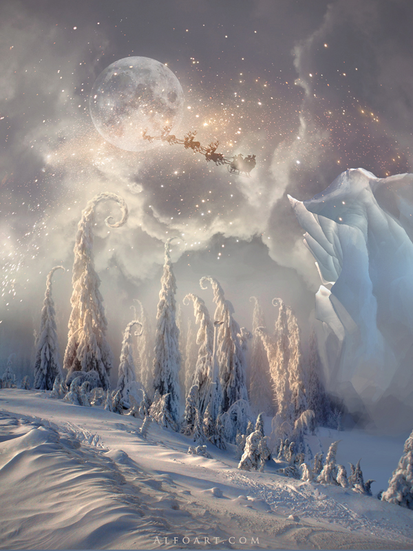 christmas night  magic scene with flying santa by alexandraf d4habks