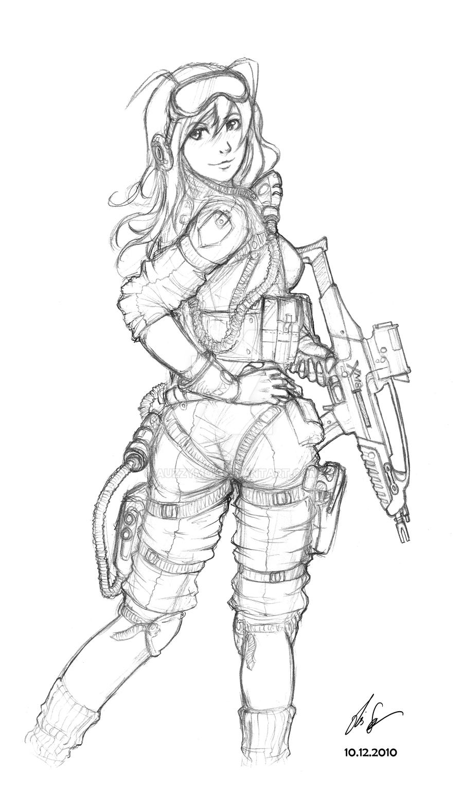 female soldier 03 by auzzymo on deviantart