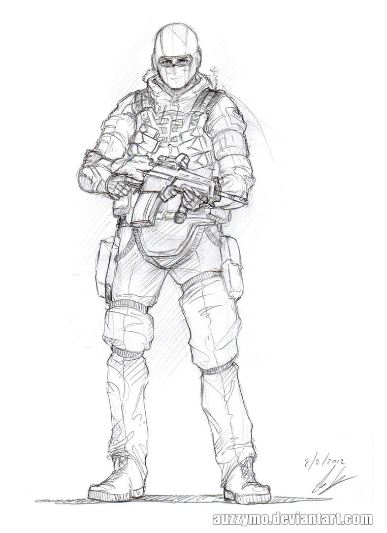 Soldier sketch 1 by Auzzymo