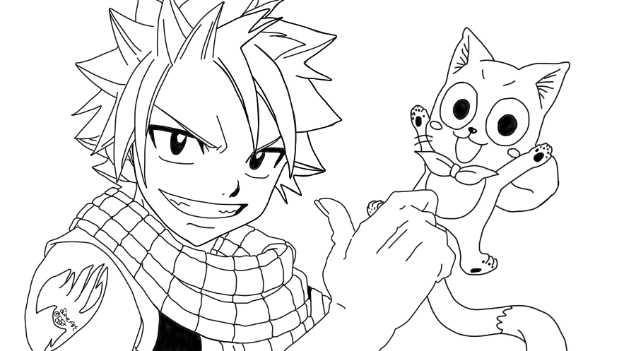 Fairy Tail - Natsu and Happy - Line art by UsagiTail on ...
