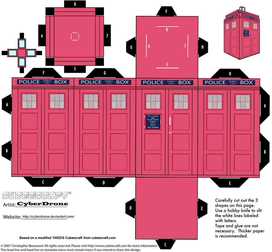 Cubee - Classic TARDIS \'Pink\' by CyberDrone on DeviantArt