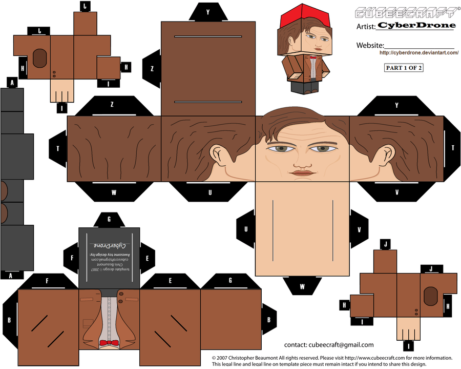 Cubee 11th doctor 39 ver3a 39 by cyberdrone on deviantart for Craft work with paper folding