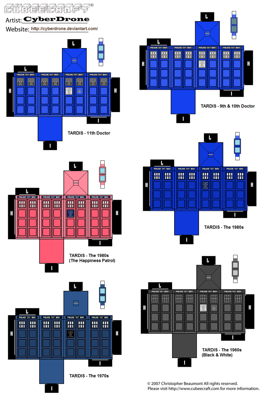 Mini TARDIS Cubeecraft Set by CyberDrone