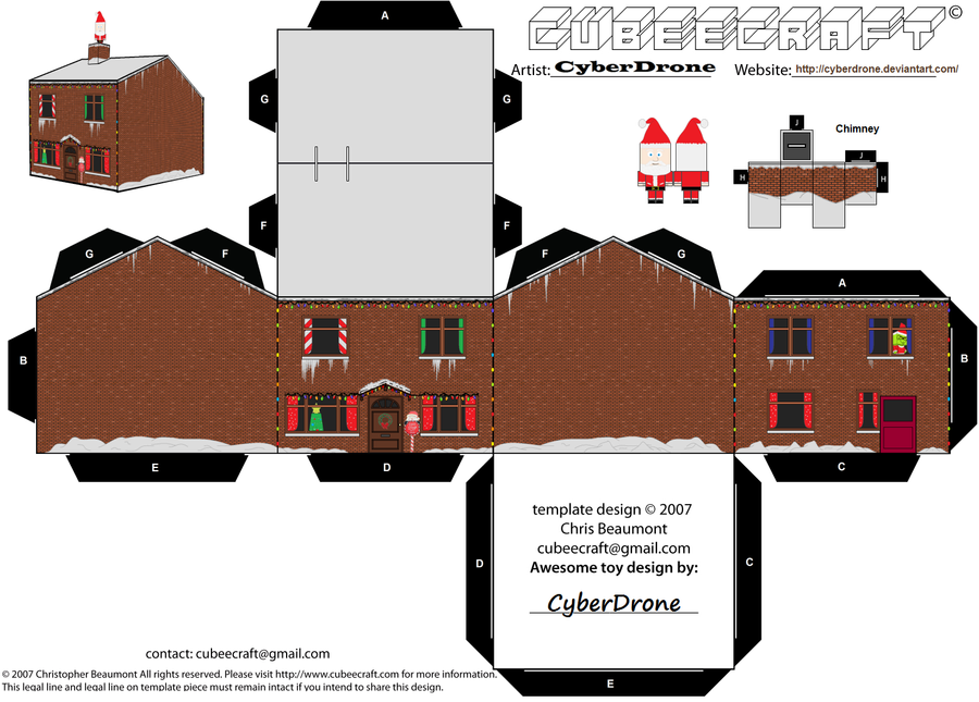 Cubee christmas house by cyberdrone on deviantart for Paper craft home