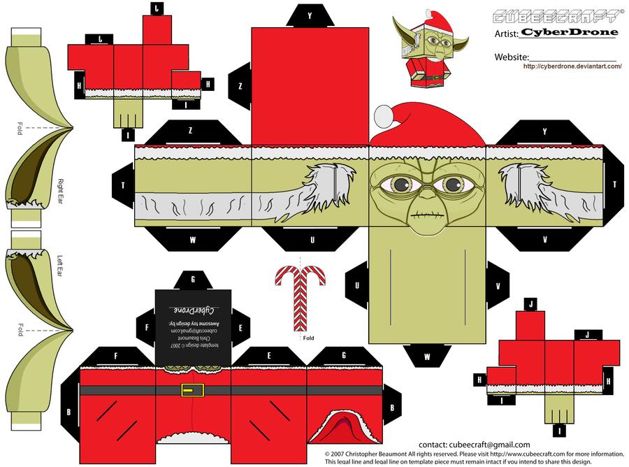 Papercraft - Cubee - Yoda als Weihnachtsmann Cubee_____santa___yoda_by_cyberdrone-d4j8v7m