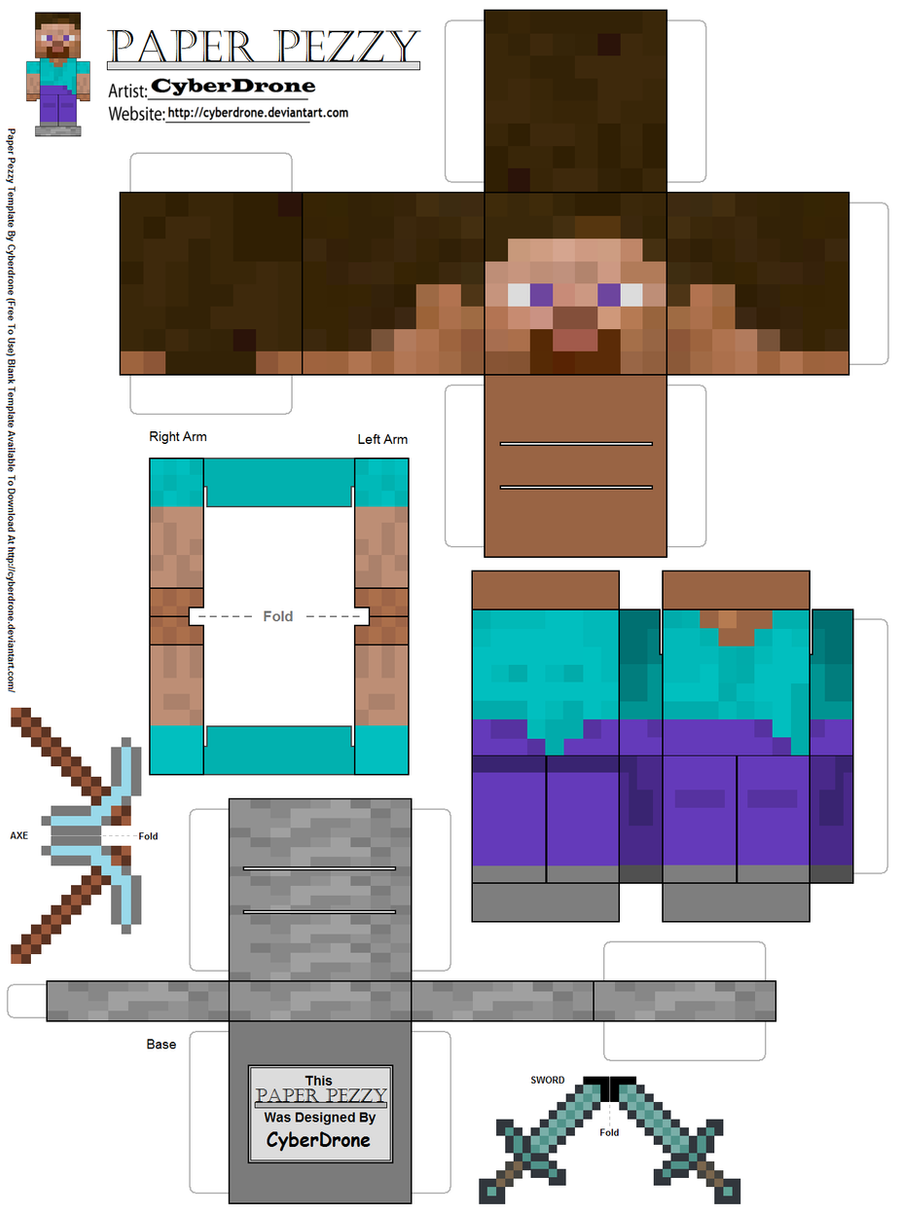 Paper pezzy steve minecraft by cyberdrone