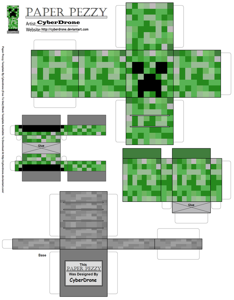 paper pezzy creeper minecraft by cyberdrone on deviantart