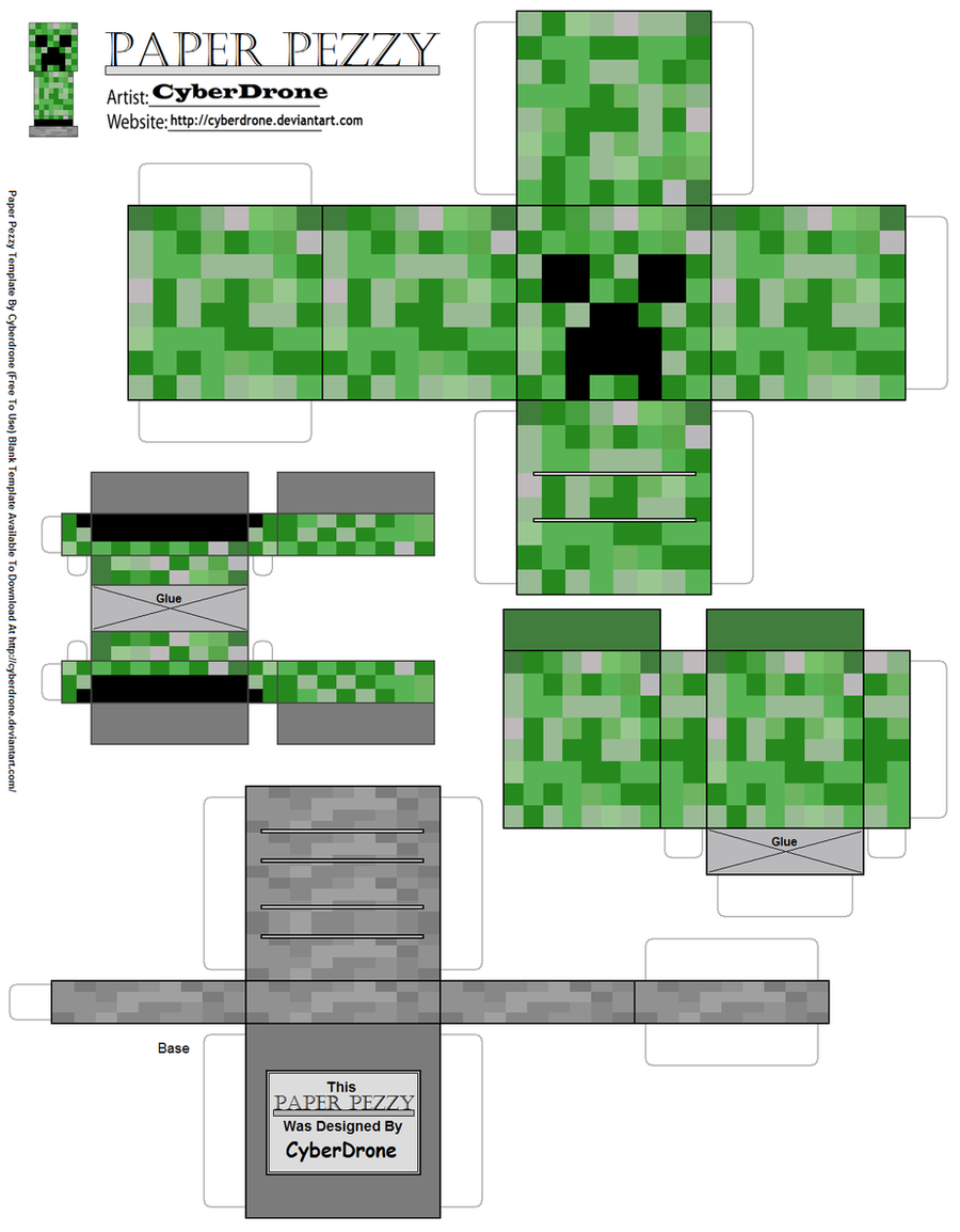 Paper pezzy creeper 39 minecraft 39 by cyberdrone on deviantart for Minecraft cut out templates