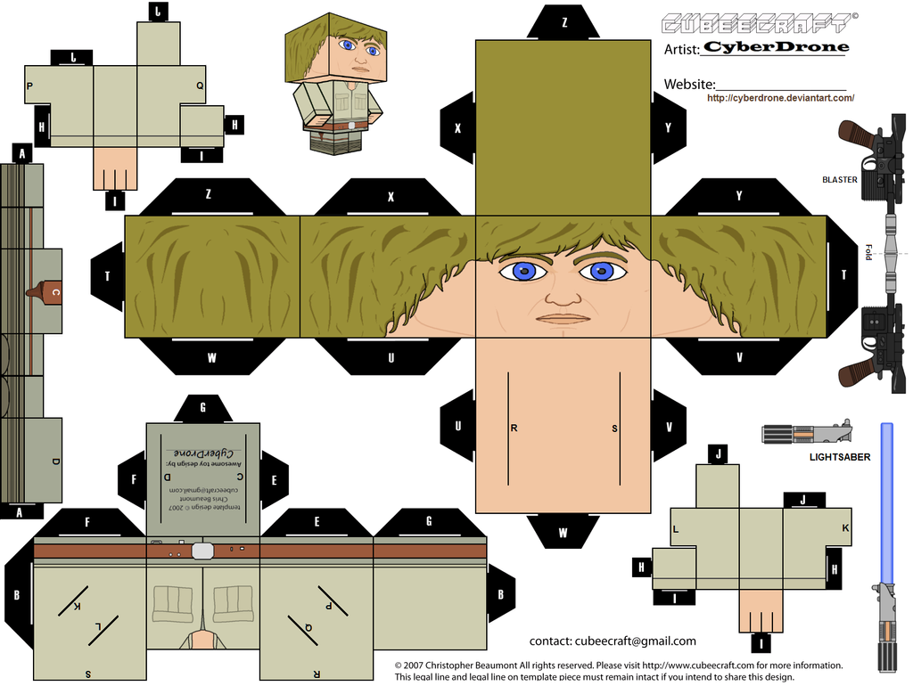 Cubee luke skywalker 39 bespin 39 by cyberdrone on deviantart for Star wars arts and crafts