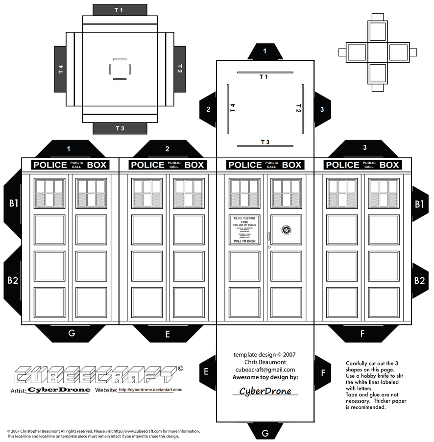 Cubee Colour Your Own Tardis By Cyberdrone On Deviantart