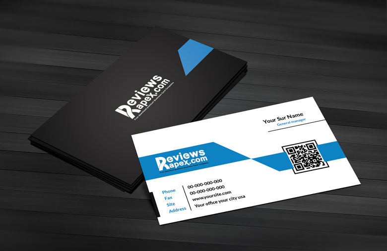 Black Blue Corporate Business Card Template by ArenaReviews on ...