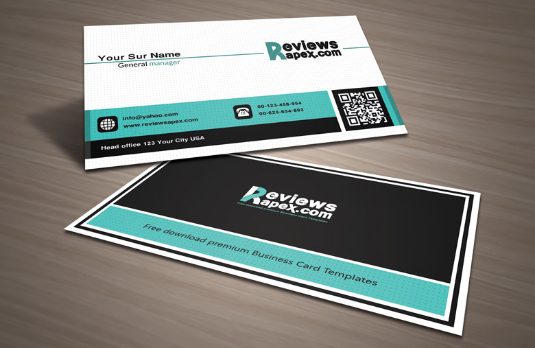 black white business card with qr code template by arenareviews on